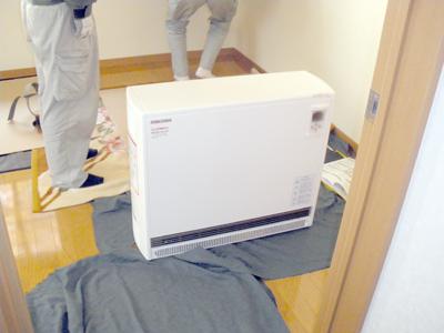 蓄熱式暖房器の搬入